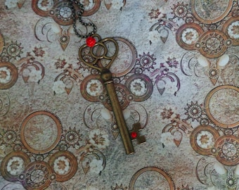 Key Necklace with Red Rose.