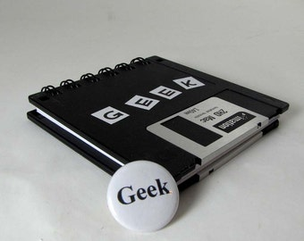 Computer Floppy Disk Notebook Original Geek Recycled Blank Floppy Disk Mini Notebook in Black with 1 inch GEEK Pin