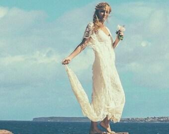 Bohemian Lace Beaded Train Bridal Kaftan, Vintage Beach Wedding