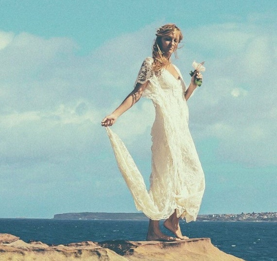 Bohemian Lace Beaded Train Bridal Kaftan, Vintage Beach Wedding