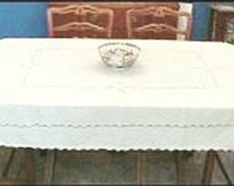 """Vintage Ivory Pale Yellow Handmade Oblong Tablecloth Cotton Linen With Exquisite Hand Embroidery 78"""" x 59"""""""