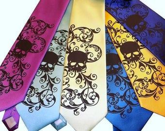 Skull necktie hand print - 3 Mens microfiber Wedding skull ties - by RokGear