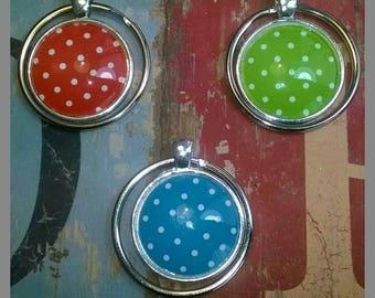 Key Ring Cabochon Polka Dots