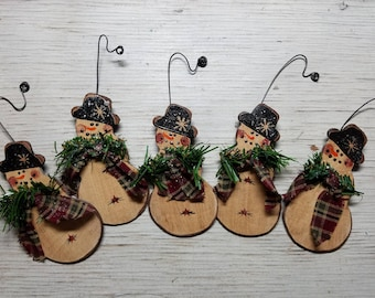 Snowman Ornament, Primitive Country Snowman, Primitive Snowman Ornament, Primitive Ornament, Wood Ornament, Primitive Christmas Ornament