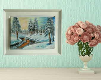 Winter in wonderland, hand painted using acrylics and framed