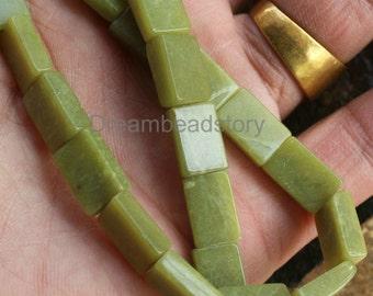Natural Rectangle Shape Semi Precious Stone Beads, Lemon Jade 8*10mm Spacer Beads for Jewelry Craft Making (WM235)
