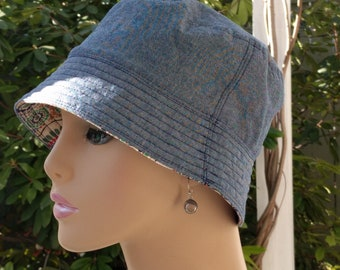 Womens Chemo Hat Bucket Hat Cancer Hat Blue Denim Made in the USA  SMALL - MEDIUM
