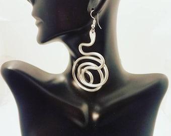 "Fun Albsract Aluminum Wire Earrings/ Earrings Hang 3"" Long"