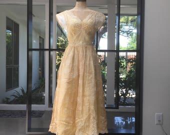 Butter Yellow 40s Semi Formal Eyelet Illusion Dress XS, extra small