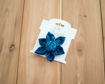 Blue and Teal Floral Flower Bow Headband Hair Accessories Nylon Headband Clips Piggie Clips pigtails