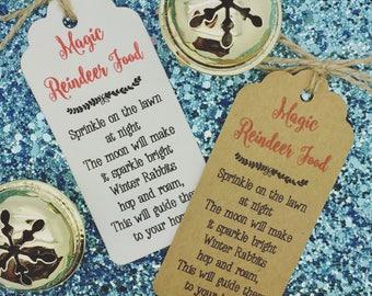 Magic Reindeer Food Poem- Christmas Card/ Gift Tag Party Present, Tree Tie Wrap