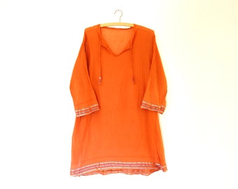 Indian Sheer Gauze Tunic, Embroidered sheer cotton, Orange, Beach outerwear, ONE Size