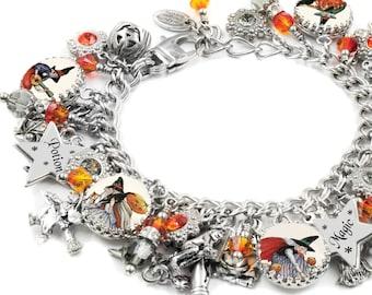 Halloween Charm Bracelet, The Mystic Witch, Halloween Jewelry, Witch Charm Bracelet, Halloween Bracelet, Witch Charms