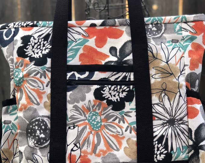 Large Tote Bag with Pockets, Teacher Tote, Nurse Bag, Travel Tote, Professional Tote, Carry On, Teacher Bag, Nurse Tote, Zippered Tote