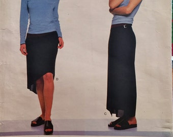Vogue American Designer Calvin Klein Hipster Close Fitting Pullover Top and Wrap or Asymmetrical Skirt/Pattern #2011/ Size 6-8-10