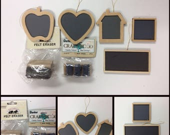 37 WOODEN CHALKBOARDS & 5 Mini ERASURES/Heart/Apple/Schoolhouse/Square/Rectangle/Shaped/Miniatures/Crafting/Teacher/Ornaments