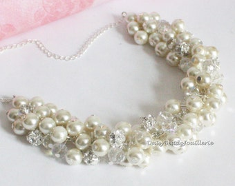 Ivory Pearl Cluster Necklace Bridesmaids Gifts Ivory Pearl Necklace Ivory Chunky Necklace Ivory Pearl Cluster Necklace Ivory Necklace