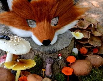 Faux Fur Red Fox Mask, handmade