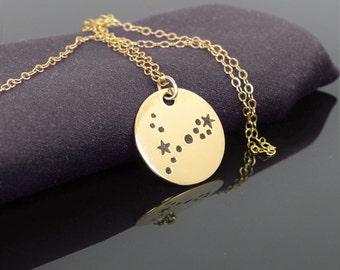 14k Gold Filled Pisces Necklace, Gold Pisces Necklace, Gold filled, Pisces Constellation, Pisces Jewelry, Zodiac Necklace, Pisces Zodiac