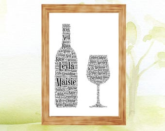 Wine Bottle and glass  Personalised  Word Art Print Picture with words celebration gift