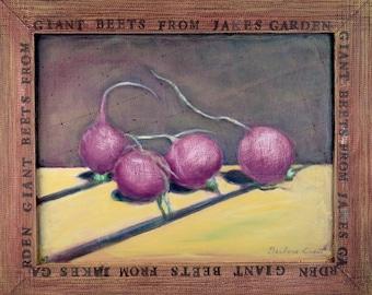 "Original painting of radishes entitled ""Giant Beets"""