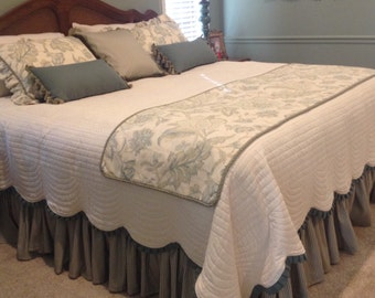 Custom Shirred Bedskirt - unlined - choose your own fabric and length