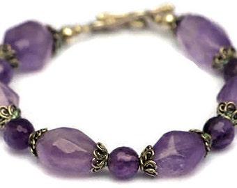 Pleasing Purple Amethyst and Sterling Bracelet by MixedMediaDesigns1