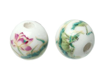 5 10mm floral ceramic beads