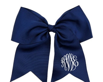 12Pieces NAVY Tail Hair Bow, monogram hair bow, personalized bow, monogram, initial hair bow, girls hair bow, embroidered hair bow
