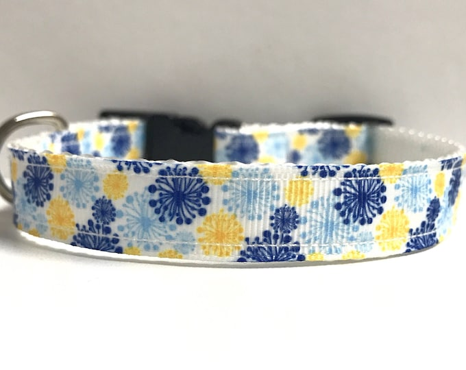 """5/8"""" blue & yellow floral bursts"""