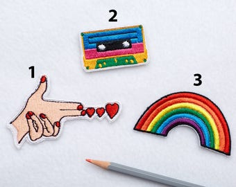 90s patches Retro patch Rainbow patch Iron on Patches for jackets Cassette patch Retro cassette patch Girl Power patch LGBT patch  ED9245