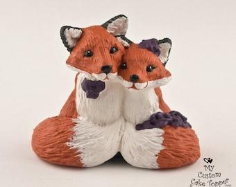 Fox Wedding Cake Topper - Custom Bride and Groom