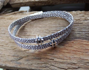 leather bracelet, leather wrap bracelet with 2 silver slide beads, hashtag charms, leather bracelet, with a silver magnetic clasp