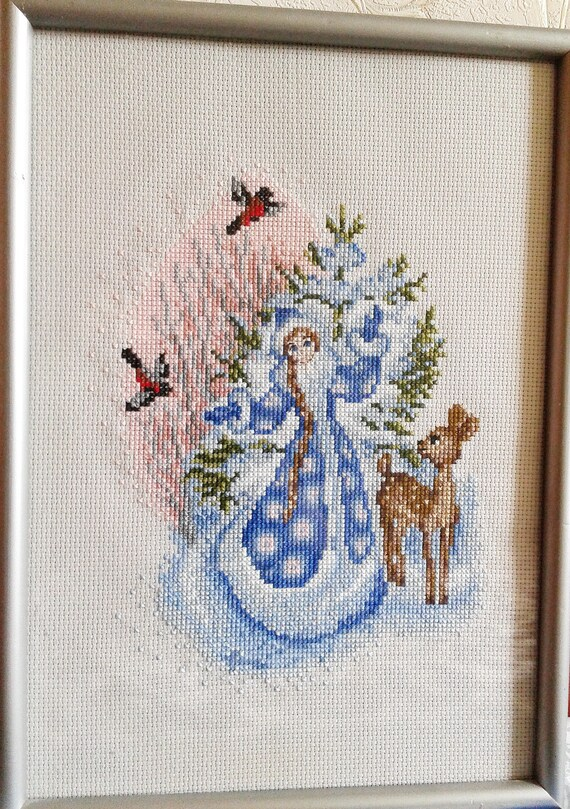 tale snow maiden christmas embroidery cross stitch winter