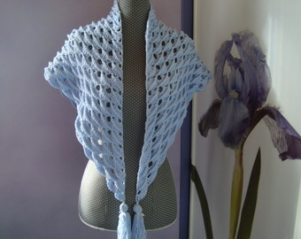 Cache-shoulder shawl wool hook and cotton lavender pompons