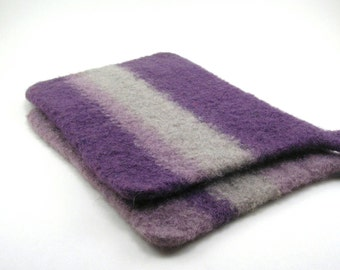 Felted wool pot holders - wool trivets - potholder set - violet, wisteria and taupe gray