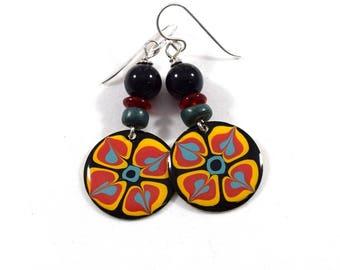 Handmade Earrings, Paint and Resin Earrings, Black and Turquoise Earrings, Boho Earrings, Silver Earrings, Artisan Earrings, Black, AE230