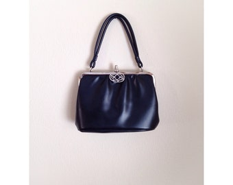 Vintage 1960s Pleather Navy Blue Purse Handbag