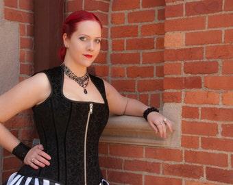 READY to ship! Steampunk Corset Vest - Black on Black Scroll Pattern-  Plus Size Goth Fashion- XL SAMPLE
