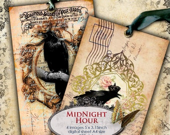 MIDNIGHT HOUR 5x3 inch old postcard size digital black raven paper gothic scrapbook Digital collage sheet instant download printable - pp119