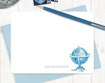 personalized stationery set - VINTAGE GLOBE - set of 12 flat note cards - world traveler stationary