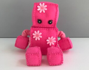 Felt robot softie - pink with flowers