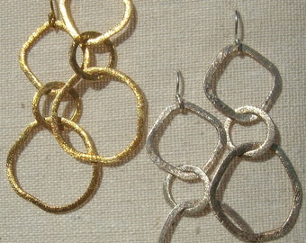 Brushed Gold Vermeil / Sterling  interlocking Triple Circle Earrings