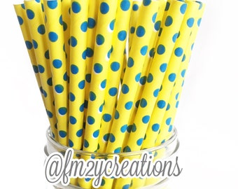PAPER STRAWS, 25 Blue and Yellow Paper Straws, Drinking Straws, Yellow and Blue Baby Shower, Baby Boy