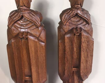 "Vintage Hand Carved Wood Priests 2 - Large 18 1/4"" Tall Vintage from House of Wood Avila Catalina 1960s-70s, 2 Priest Statues/Figures"