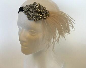 Ostrich feather headband, ostrich 1920s headband, great gatsby feather fascinator champagne feather flapper headband bridesmaids bridal