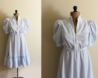 vintage dress light blue 1980s pearl trim ruffle dancing mixed floral print clothing size medium m