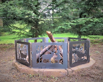 Beautiful Elk Family, Wildlife Fire Pit | Portable Fire Pit | Outdoor Fire Pit | Back Yard Fire Pit | Fire Pit | Fire Pit Ring.