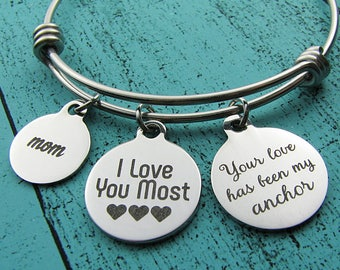 Mom gift, Christmas gift for Mom, birthday gift, I love you most, inspirational gift, Mother's Day jewelry, wedding gift for Mom, anchor