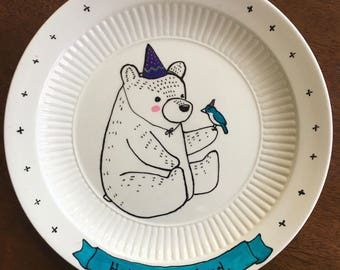 Original Illustration Hello My Friend Bear and Bird Celebrate on a Vintage Up-cycled plate